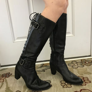 DONNA CAROLINA Zip/Lace Leather Boots